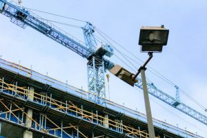 construction site crane and security